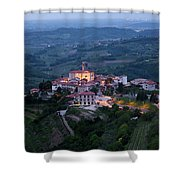 Medieval Hilltop Village Of Smartno Brda Slovenia At Dawn In The Shower Curtain