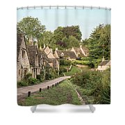 Medieval Houses In Arlington Row In Cotswolds Countryside Landsc Shower Curtain