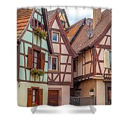 Medieval Houses In Ribeauville  Shower Curtain