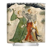 Medieval Snowball Fight Shower Curtain