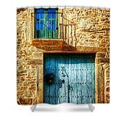 Medieval Spanish Gate And Balcony - Vintage Version Shower Curtain