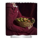 Medieval Woman Holding A Basket Of Apples Shower Curtain