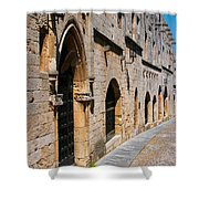 Medievil Town In Rhodes Shower Curtain by Sandra Bronstein