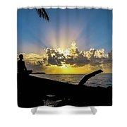 Meditating At Sunrise Shower Curtain