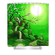 Meditating While Cherry Blossoms Fall In Green Shower Curtain