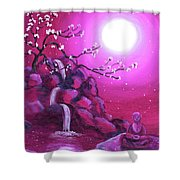 Meditating While Cherry Blossoms Fall Shower Curtain