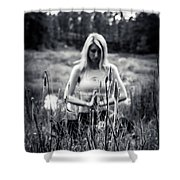 Meditation Meadow Bw Background Shower Curtain