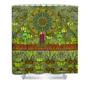 Meditative Garden Got Visit Of Lady Panda And The Floral Skulls Shower Curtain