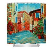 Mediterranean Street Shower Curtain