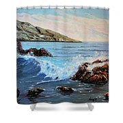 Mediterranean Wave Shower Curtain