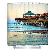 Meet You At The Pier - Folly Beach Pier Shower Curtain