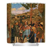 Meeting Of Duke Ludovico II Gonzaga With Cardinal Francesco Gonz Fragment Shower Curtain