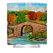 Meeting On The Old Bridge Shower Curtain