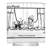 Meeting Up In Dog Park Shower Curtain