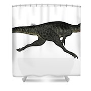 Megalosaurus Dinosaur Running, White Shower Curtain