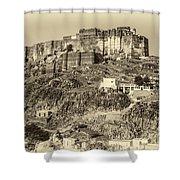 Mehrangarh Fort Sepia Shower Curtain