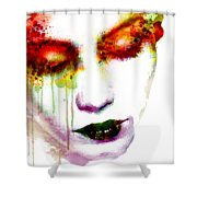 Melancholy In Watercolor Shower Curtain
