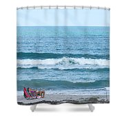 Melbourne Beach Florida On The Phone Shower Curtain