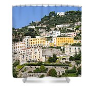 Mellow Yellow Buildings Shower Curtain