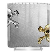 Memento Mori - Gold And Silver Human Skulls And Bones On White Canvas Shower Curtain
