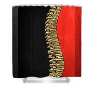 Memento Mori - Gold Human Backbone Over Black And Red Canvas Shower Curtain