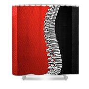 Memento Mori - Silver Human Backbone Over Red And Black Canvas Shower Curtain