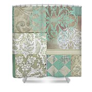 Memories And Whispers Aqua Shower Curtain