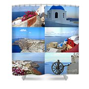 Memories From Santorini Shower Curtain