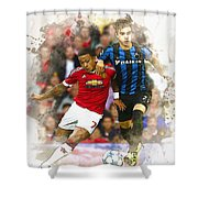 Memphis Depay Of Manchester United In Action Shower Curtain