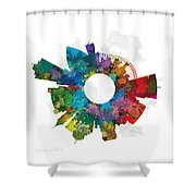 Memphis Small World Cityscape Skyline Abstract Shower Curtain