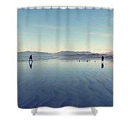 Men At Beach Shower Curtain