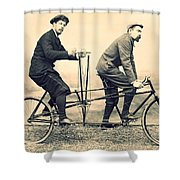 Men On Dual Bicycle, Cca 1900 Shower Curtain