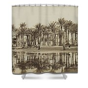 Men With Goats Under Palm Trees On The Water In Bedrechen, Bonfils, C. 1895 - In Or Before 1905 Shower Curtain