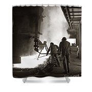 Men Working Blast Furnace At Steel Shower Curtain