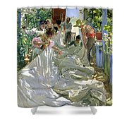 Mending The Sail Shower Curtain by Joaquin Sorolla y Bastida