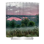 Mendota Bridge Sunrise Shower Curtain