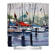 Menominee Marina Shower Curtain by Ryan Radke