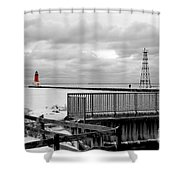 Menominee North Pier Lighthouse On Ice Shower Curtain