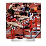 Mens Hurdles 2 Shower Curtain