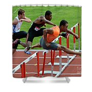 Mens Hurdles Shower Curtain