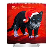 Meow Christmas Kitty Shower Curtain
