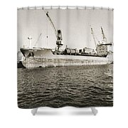 Merchant Ship Docked At Barcelona's Harbour Shower Curtain