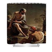 Mercury Lulling Argus To Sleep By Ubaldo Gandolfi Shower Curtain