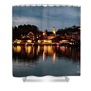 Meredith Bay On Christmas Night Shower Curtain