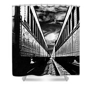 Merging Trains Shower Curtain