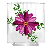 Merlot Cosmos Botanical Shower Curtain by Anne Norskog