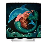 Mermaid And Dolphin  Shower Curtain