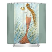 Mermaid And Her Catfish, Goldie Shower Curtain
