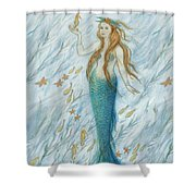 Mermaid And Her Golden Seahorse Shower Curtain
