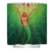Mermaid Art- Mermaid's Starlight Shower Curtain